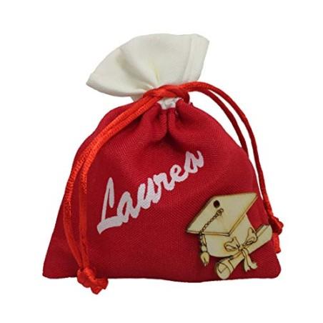 PuntoCasaStore 10 X Sacchetto Portaconfetti Rosso con Scritta Laurea e Applicazione Tocco Legno 9x11 cm