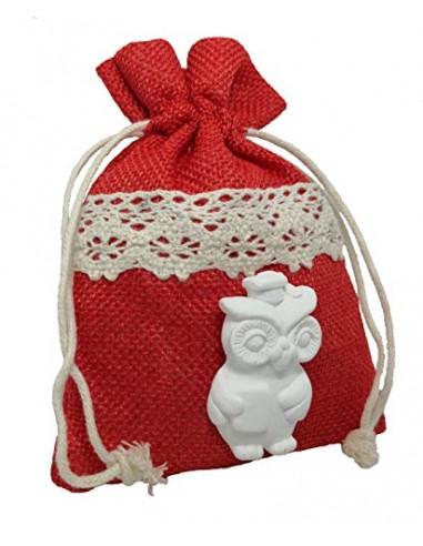 PuntoCasaStore 10 PZ Sacchetto 10X13 CM Juta Rosso Fascia macramè Portaconfetti con gessetto Gufo Laurea 2,5x4,5 cm