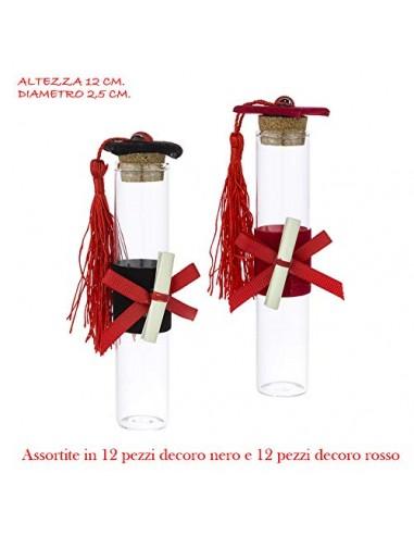 24 X Provette in Vetro portaconfetti assortite in 2 Colori con Tocco Laurea Coccinella, Nappina, e Pergamena h. 12 cm. BOMBONIER
