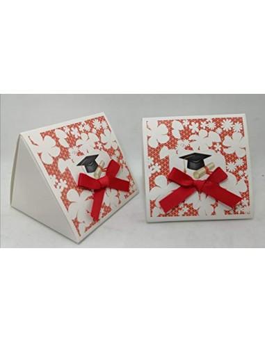 PuntoCasaStore Stock 12 Pezzi Scatolina portaconfetti Porta Confetti Laurea Rosso 8X8X7 CM bomboniera