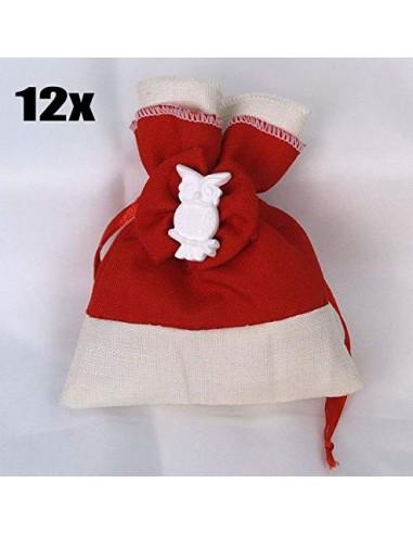 12 PEZZI Sacchetto portaconfetti piccolo LAUREA rosso con gufetto bombon