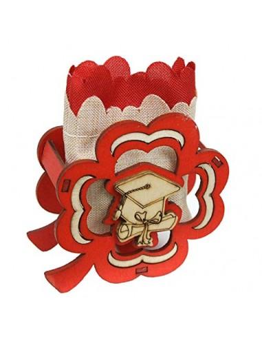 PuntoCasaStore 12 PZ Scatola portaconfetti Legno Quadrifoglio Tocco Sacchetto Bicolore BOMBONIERA Laurea