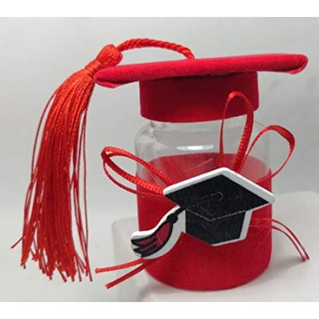 PuntoCasaStore 12 PZ Laurea Bottiglia portaconfetti Rossa con Tocco e Nappina BOMBONIERA