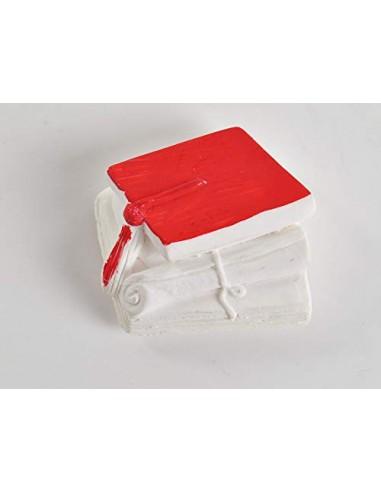 PuntoCasaStore 12 Pezzi Gesso Gessetto Tocco Laurea Rosso 4x3 cm bomboniera