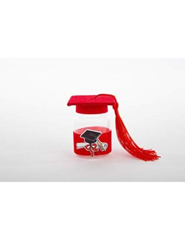 PuntoCasaStore 10 PZ Laurea Laurea Bottiglia portaconfetti Rosso H.6,5 cm con Tocco e Nappina BOMBONIERA