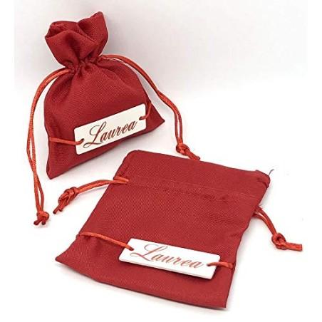 12X Sacchetto Portaconfetti Rosso 10x12cm tag legno LAUREA bomboniera