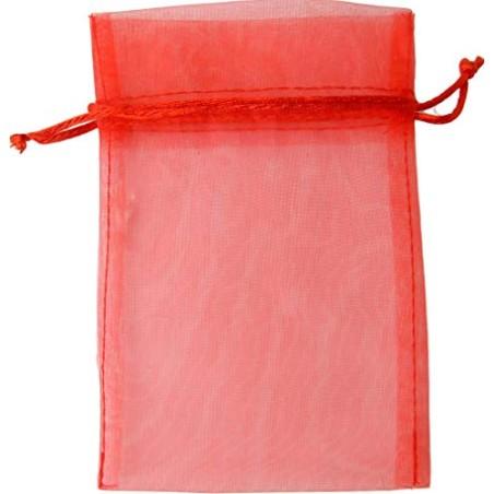 PUNTO CASA 25 Sacchetti Sacchetto Organza Rosso BOMBONIERA Porta Confetti CONFETTATA Laurea 10X15 CM