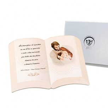 PuntoCasaStore Bomboniera Libro con Frase e Sacra Famiglia 15 x H.11 cm Bomboniere