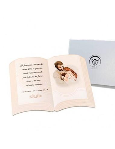 Frasi Matrimonio Bomboniere.1 Pz Icona In Resina Libro Con Frase E Sacra Famiglia 15 X 11 H
