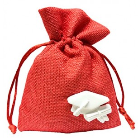PuntoCasaStore 10 PZ Sacchetto 10X13 CM Juta Rosso Portaconfetti con gessetto Tocco Laurea 3,5x2,5 cm