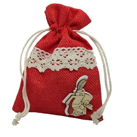 PuntoCasaStore 10 X Sacchetto Portaconfetti Juta Rosso 10x13 cm Laurea con Legnetto e macramè
