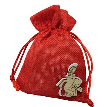 PuntoCasaStore 10 X Sacchetto Portaconfetti Juta Rosso 10x13 cm Laurea con Legnetto 3x4 cm