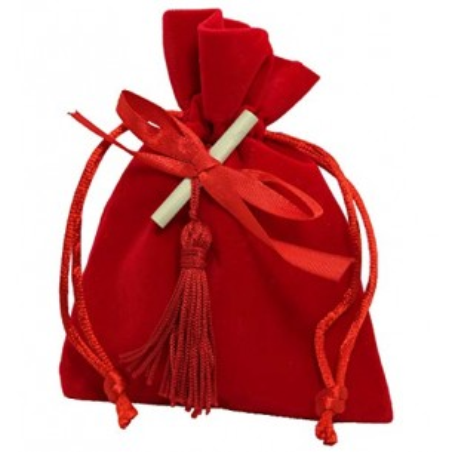 PuntoCasaStore 10 X Sacchetto Portaconfetti Velluto Rosso Laurea 9x11 cm