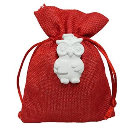 PuntoCasaStore 10 PZ Sacchetto 10X13 CM Juta Rosso Portaconfetti con gessetto Gufo Laurea 2,5x4,5 cm
