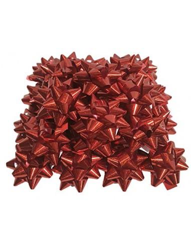 PuntoCasaStore 50 Pezzi Stelle Stelline Decorative Pacco Regalo Confezione DIAM. 5 CM Rosso Metallizzato