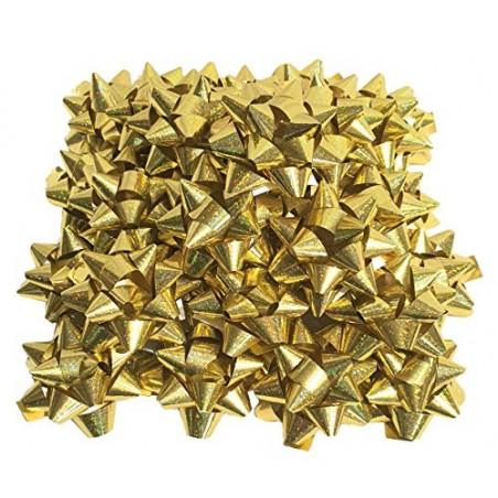 PuntoCasaStore 50 Pezzi Stelle Stelline Decorative Pacco Regalo Confezione DIAM. 5 CM Oro Metallizzato