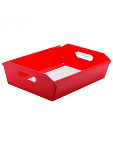 1 PZ Cesto Vassoio Carta Rosso 31x22xH9 cm