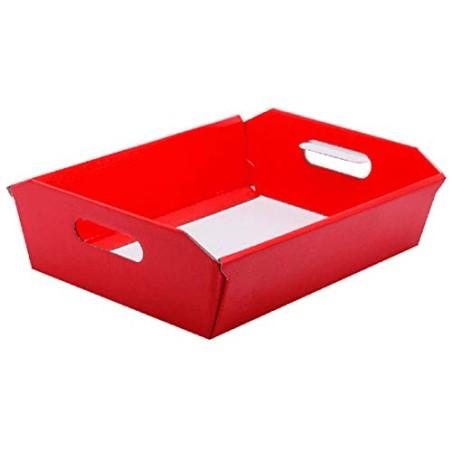 2 Pezzi Cesto Vassoio Carta Rosso 40x30xH12 cm