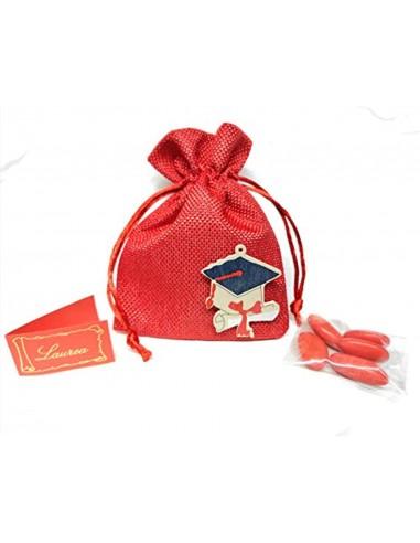 Puntocasastore 10 PZ Sacchetto Portaconfetti Laurea 10X13 cm Rosso con Tocco Legno Colorato Bomboniere