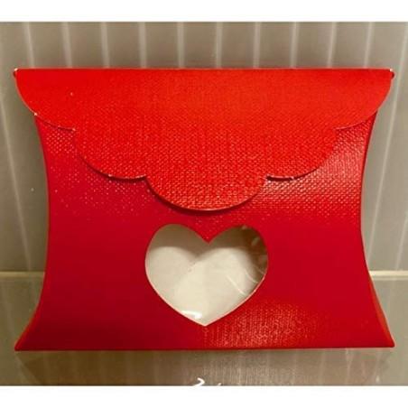 20 PZ Lino Rosso Scatola Busta Portaconfetti con Cuore 8x8.5x3 cm