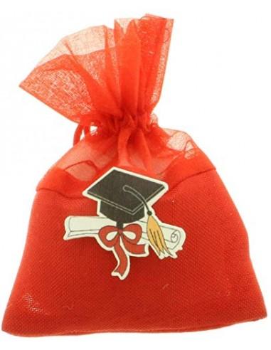 12 PEZZI LAUREA Bag Sacchetto portaconfetti tessuto e organza con tocco BOMBONIERA