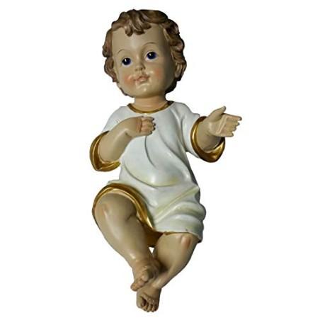 GESU' Bambino PRESEPE LUNGH. 31 CM Statua BAMBINELLO Vestito 25422