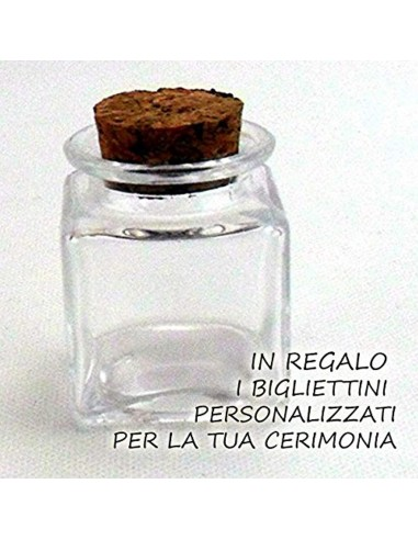 Bomboniera barattoli quadrato con tappo in sughero con bigliettino cerimonia (50 pezzi)