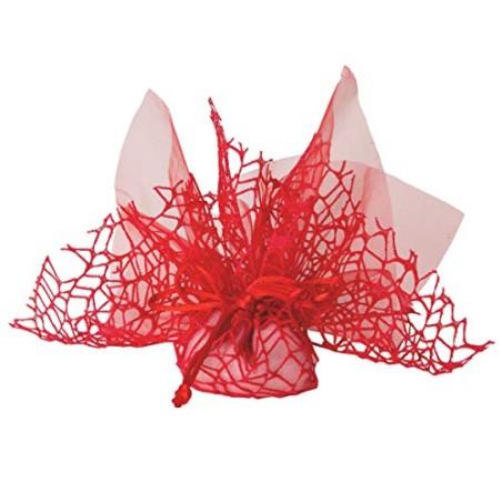 Confezione 50 pezzi Bomboniera sacchettino polycotton rete + velo organza + nastro autotirante, portaconfetti sacchetti a rete c