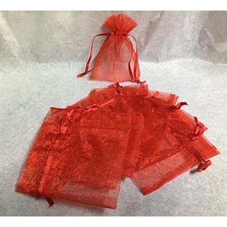 Confezione 25 sacchetti porta confetti di tulle con nastrino in raso colore ROSSO. Misure: 9 x 7 cm