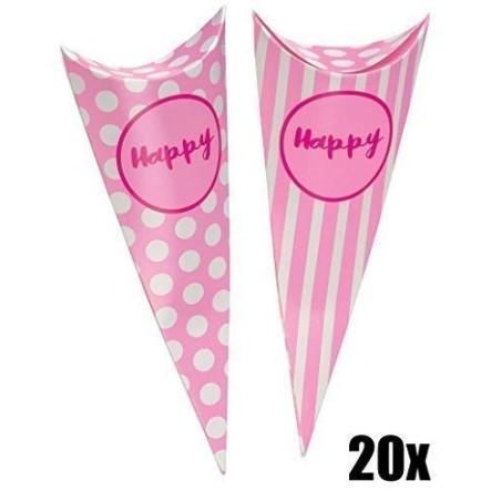 20 PZ Cono Party ROSA porta caramelle Linea Happy