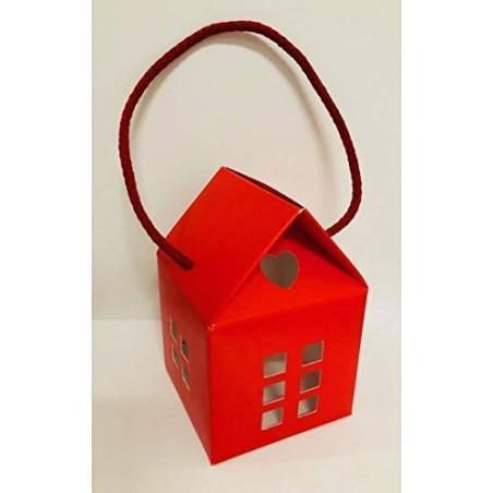 20 PZ Lino Rosso Scatola casetta portaconfetti con Manico 8x8x7.5 cm