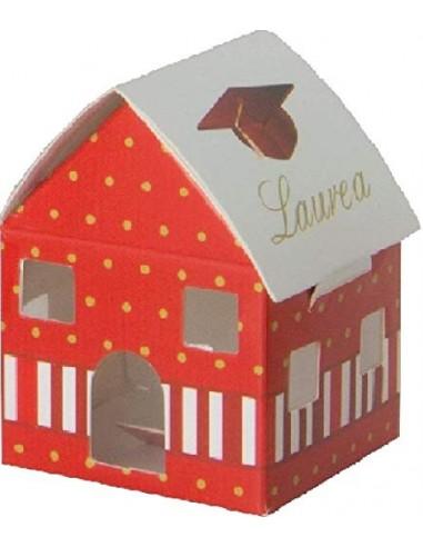 12 PEZZI Scatolina carta portaconfetti casa casetta ROSSA bomboniera LAUREA