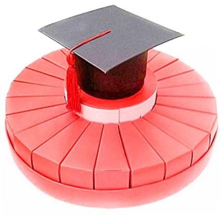 Torta porta confetti portaconfetti Laurea Rosso 24 scatoline con scatola tocco nero
