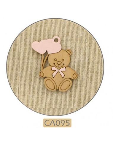 12 Legno Legnetto Orso Orsetto Rosa Con Cuori 2 5 X 3 5h Cm Bomboniera Applicazione Nascita Battesimo