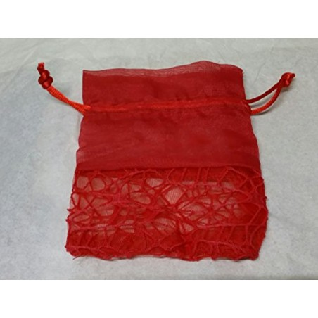 Sacchettini Bomboniera Confetti Rete Con Velo Rosso 10x12cm 10pz