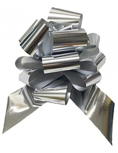 BOLIS  50 Pezzi Fiocco Argento Metallizzato Reflex Maxi Larghezza Nastro 4,8 CM Diametro COCCARDA 19 CM, 5 cm