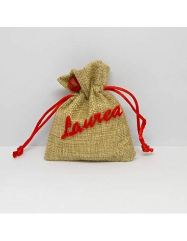 Formoso Bomboniera Sacchetto Confetti in yuta con Scritta Laurea in Rosso 6 pz Art C1898