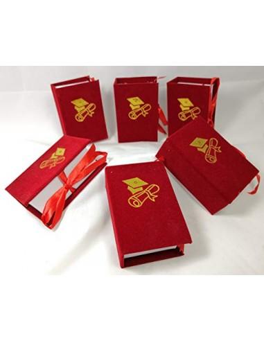 Pz 6 Astuccio Libro Laurea Portaconfetti 5,5x8xh.3 Cm Vellutato Bomboniere Fai Da Te