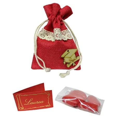 PUNTOCASASTORE 10 PZ Sacchetto Portaconfetti Laurea 10X13 cm Rosso con Tocco Bomboniere (con Confetti e Bigliettino)