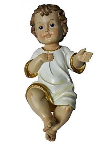 GESU' Bambino PRESEPE LUNGH. 35 CM Statua BAMBINELLO Vestito 25423