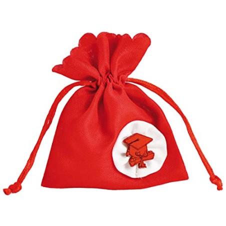 12 PEZZI Sacchetto portaconfetti laurea rosso con tocco bomboniera