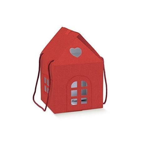 Lino Rosso Scatola a Forma di casa casetta con Manici 24.5X24.5X15 cm