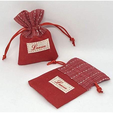 12X Sacchetto Portaconfetti rosso con toppa LAUREA 8x10 cm BOMBONIERA